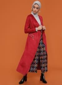 Süet Trençkot - Kırmızı - Fashion Box London