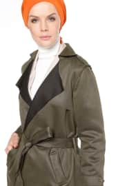 Şal Yaka Trençkot - Haki - Fashion Box London
