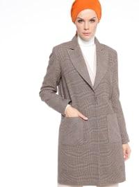 Çizgili Uzun Ceket - Kahve - Fashion Box London
