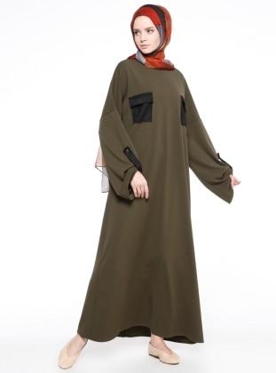 Cep Detaylı Elbise - Haki - Neways Ürün Resmi