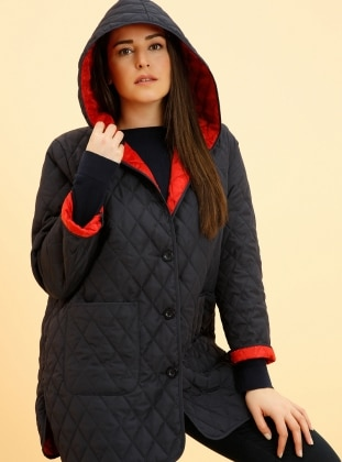 Red - Navy Blue - Unlined - Plus Size Coat