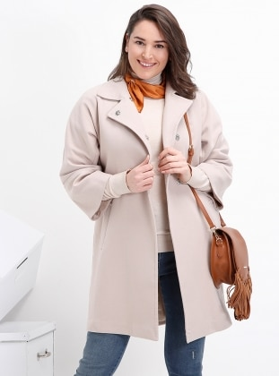 Beige – Fully Lined – Plus Size Overcoat – Alia
