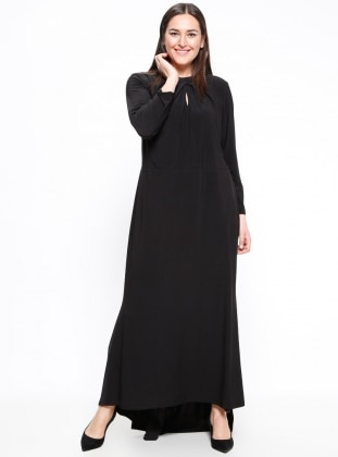 Fully Lined – Crew Neck – Black – Muslim Plus Size Evening Dress – Melisita