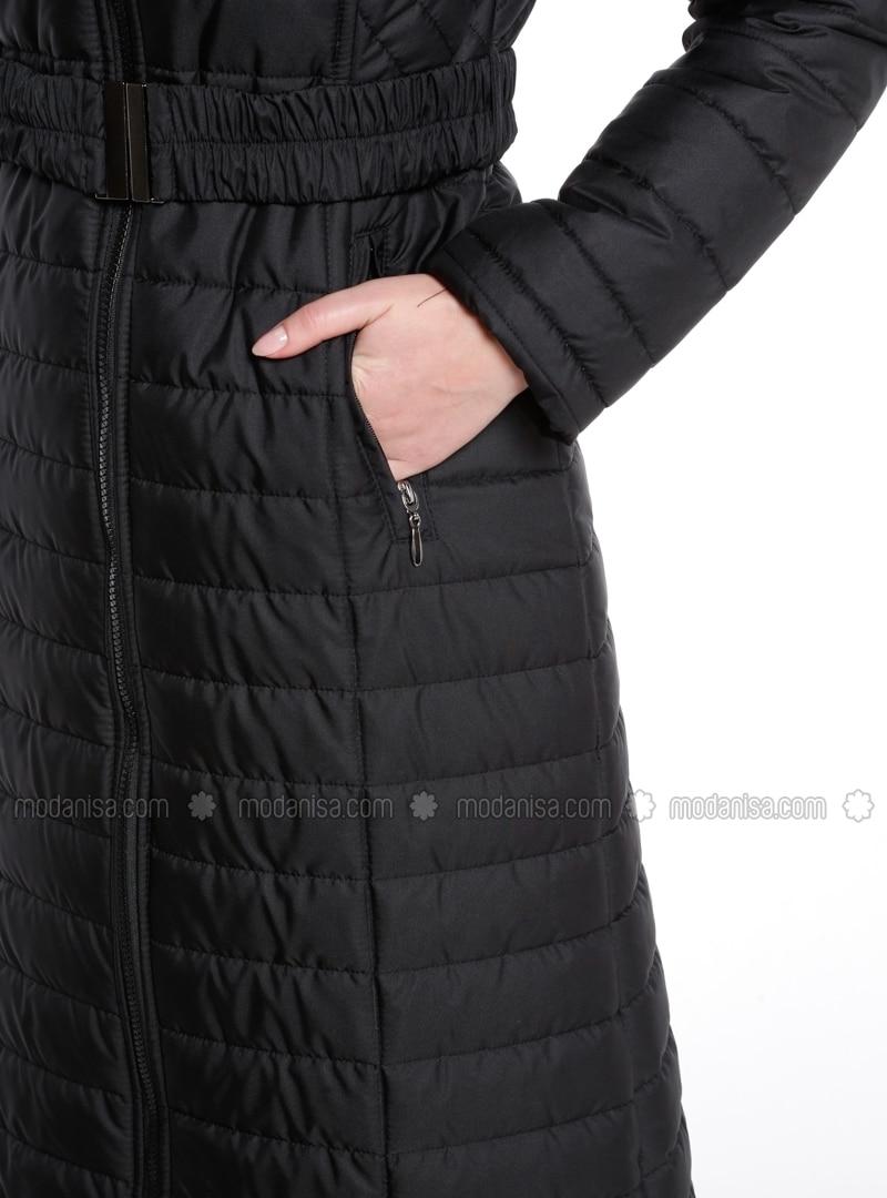 30b1a265b Black - Fully Lined - Polo neck - Coat