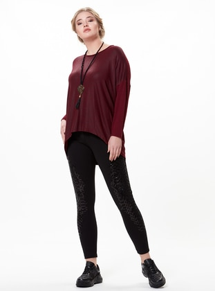 Maroon - Crew neck - Plus Size Blouse