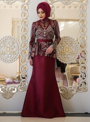 Maroon - Fully Lined - Crew neck - Muslim Evening Dress - Minel Ask 351245