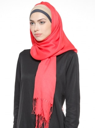 Coral - Plain - Pinless - Instant Scarf