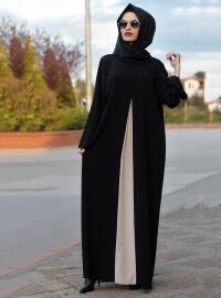 Ferace Elbise - Siyah Krem - Gabra