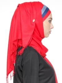 Red - Plain - Pinless - Instant Scarf