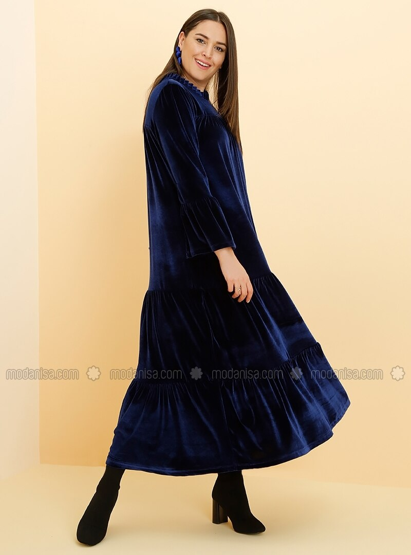 Crew Neck Navy Blue Plus Size Dress Alia