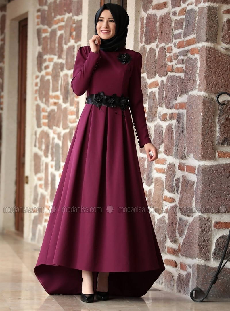 9523032c47f Purple - Fully Lined - Crew neck - Muslim Evening Dress