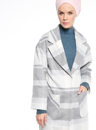 White - Gray - Plaid - Fully Lined - Shawl Collar - Coat
