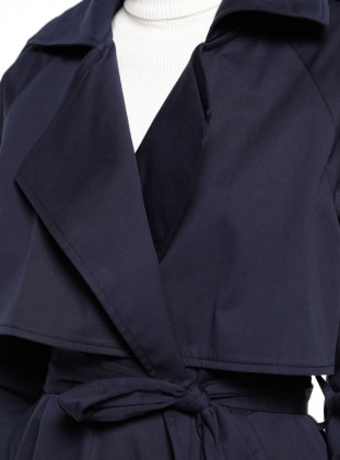Navy Blue - Fully Lined - Shawl Collar - Trench Coat