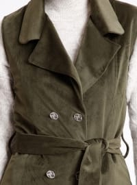 Khaki - Unlined - Point Collar - Vest - Cool Vera