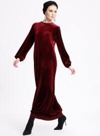 Kolyeli Kadife Elbise - Bordo - Ginezza