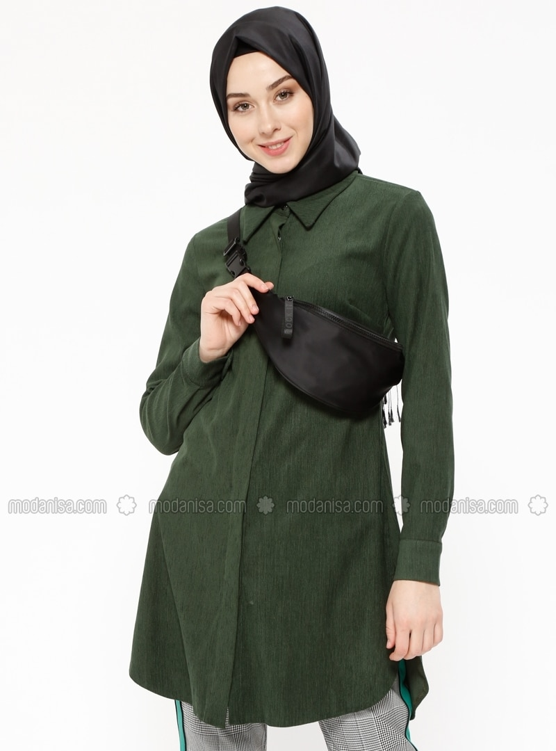 Khaki - Point Collar - Tunic - Cool Vera