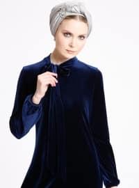 Kadife Elbise - Lacivert - Ginezza