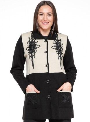 Düğmeli Ceket - Siyah Bej - Neslihan Ürün Resmi