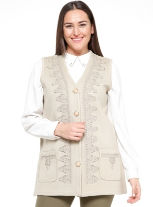 Beige - Unlined - V neck Collar - Plus Size Vest
