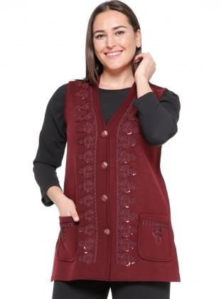 maroon - unlined - v neck collar - plus size vest - neslihan