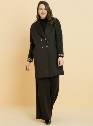 Black - Leopard - Unlined - Shawl Collar - Plus Size Coat