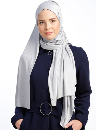 Gray - Plain - Pinless - Viscose - Shawl