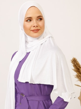Pearl White - Plain - Pinless - Viscose - Sunshine Shawl - Şal