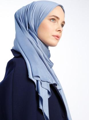 Blue - Pinless Viscose - Shawl -  Şal