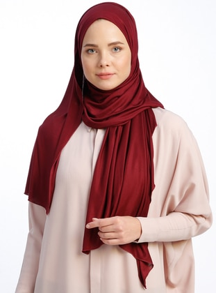 Maroon - Plain - Pinless - Viscose - Sunshine Shawl