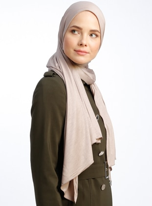 Mink - Plain - Pinless - Viscose - Sunshine Shawl - Tuva Şal