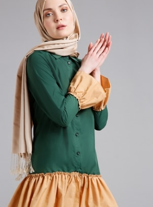 Green - Point Collar - Tunic - Refka