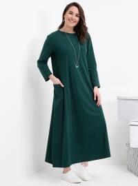 Doğal Kumaşlı Cep Detaylı Elbise - Zümrüt - Alia