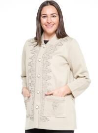 Düğmeli Ceket - Bej - Neslihan
