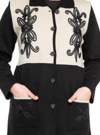 Black - Beige - Unlined - Point Collar - Plus Size Jacket