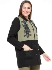 Green - Black - Unlined - Point Collar - Plus Size Jacket