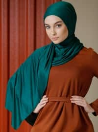 Green - Plain - Viscose - Shawl