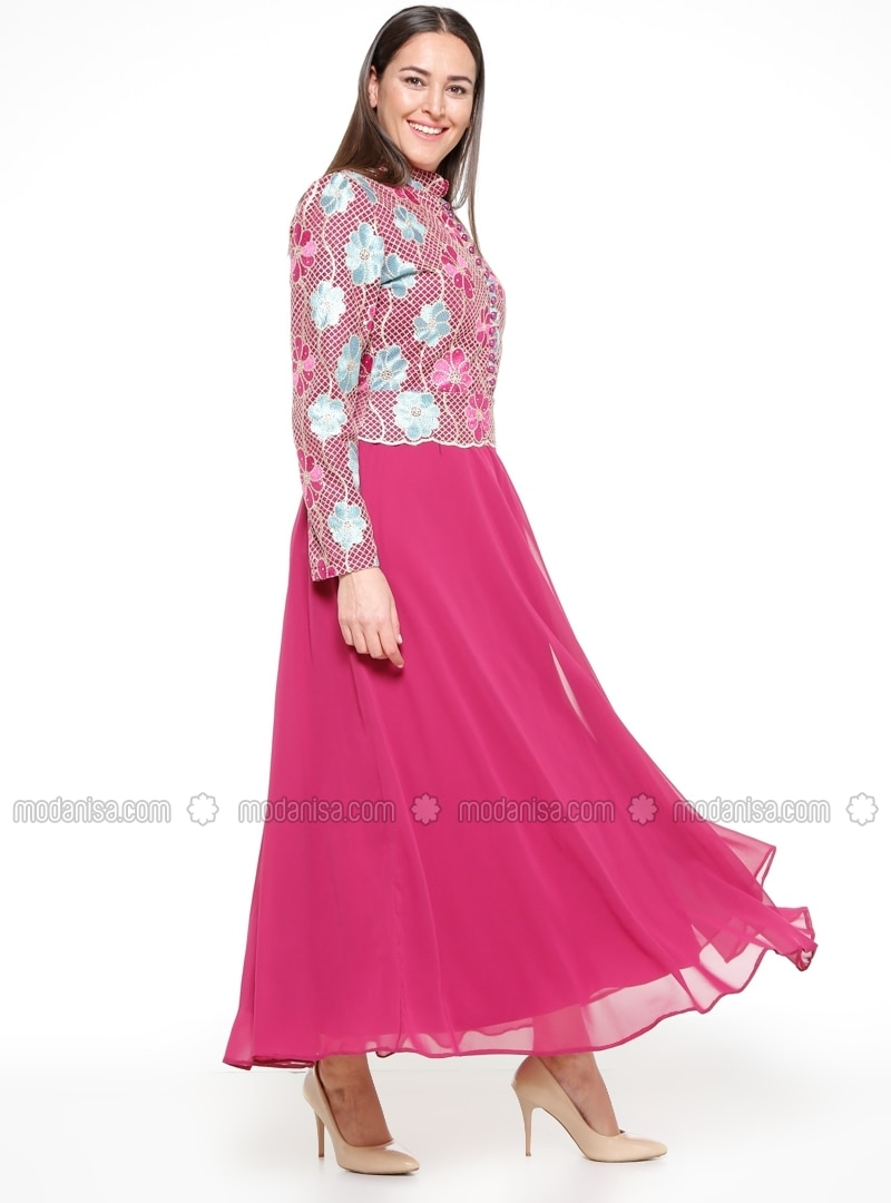 Pink - Floral - Fully Lined - Crew neck - Muslim Plus Size Evening ...