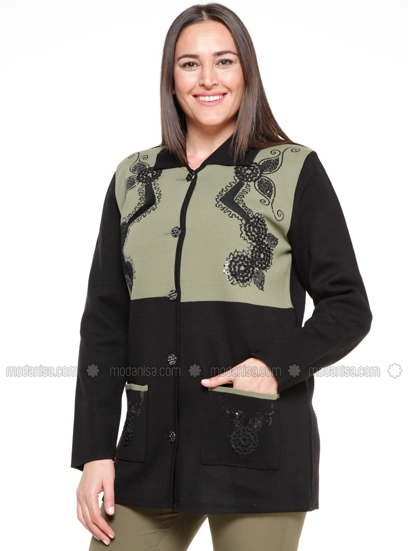 Point Collar - Unlined - Black - Green - Plus Size Jacket