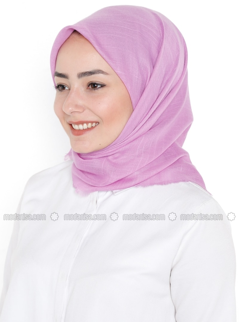 Plain - Viscose - Purple - Scarf