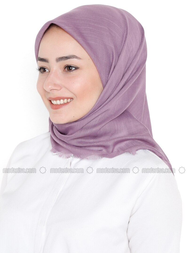 Plain - Viscose - Purple - Scarf