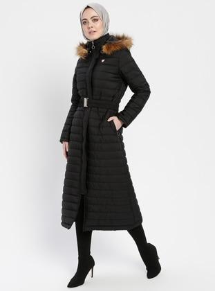 Black - Fully Lined - Polo neck - Coat - Miss Cazibe