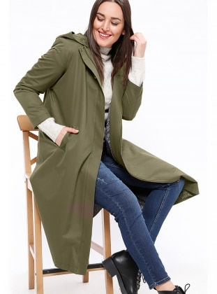 Khaki - Fully Lined - Plus Size Coat