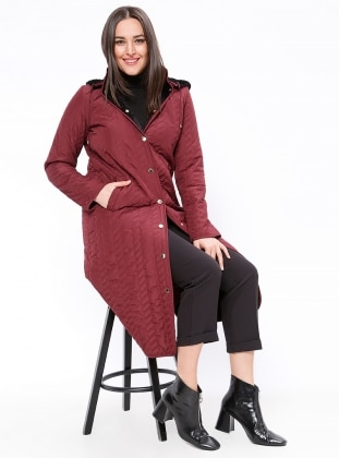 Button Collar - Unlined - Maroon - Plus Size Coat - Armine