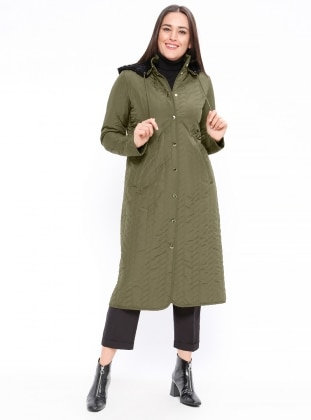 Khaki - Unlined - Button Collar - Plus Size Coat - Armine