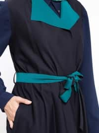 Green - Navy Blue - Unlined - Crew neck - Vest
