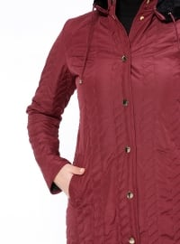 Button Collar - Unlined - Maroon - Plus Size Coat