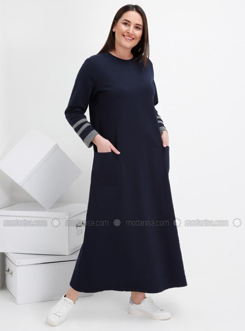 Marineblau Kleid Rundhalsausschnitt Innenfutter Ohne G G Rj35Ac4qL