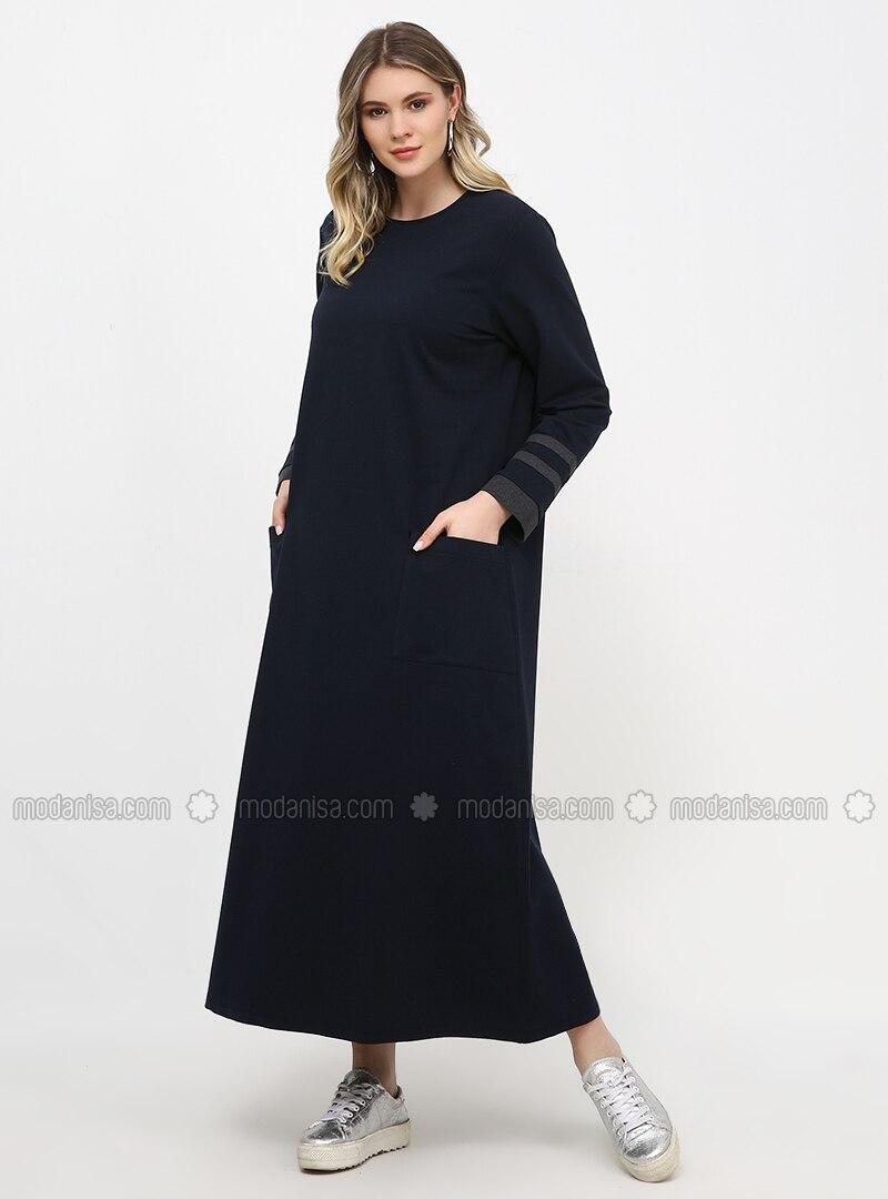 Navy Blue - Unlined - Crew neck - Plus Size Dress