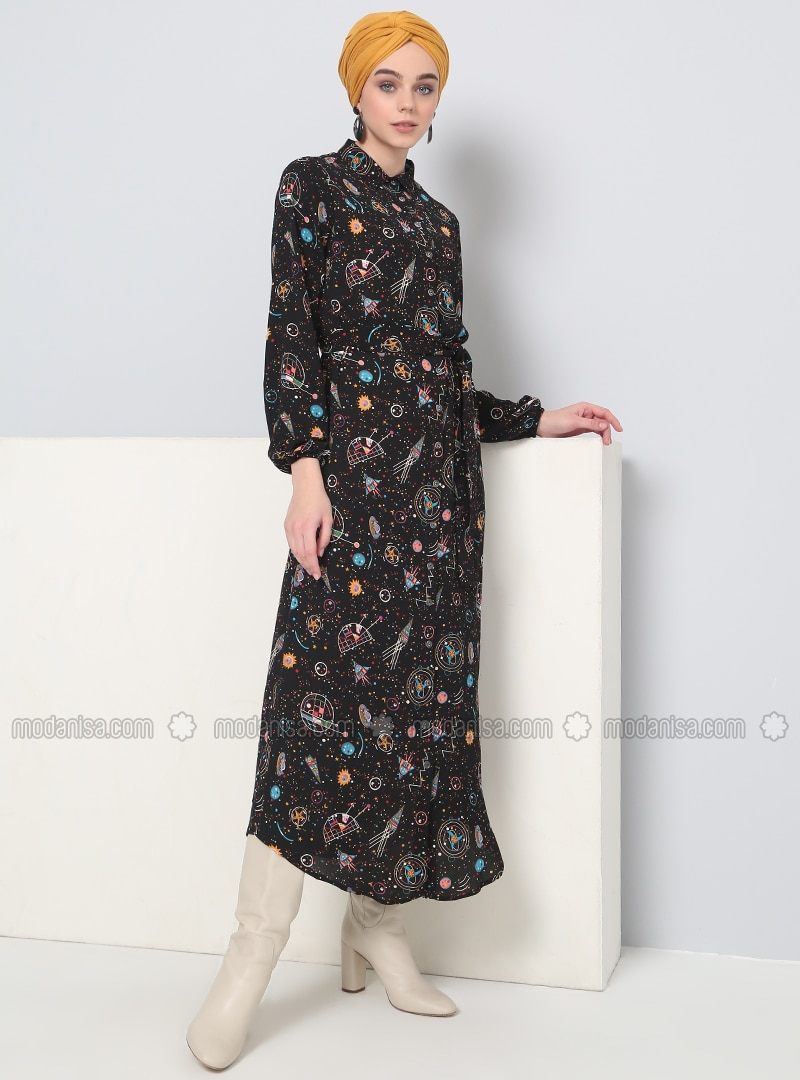 Black   Multi   Point Collar   Unlined   Dresses by Modanisa