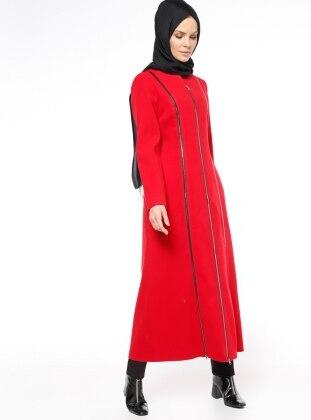 Fermuarlı Kaşe Kaban - Kırmızı - Fashion Box London Ürün Resmi